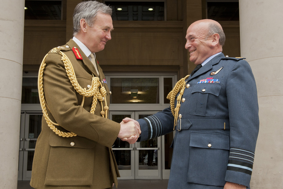 Outgoing Vice Chief of Defence Staff, General Sir Nicholas Houghton, hands over to Air Chief Marshal Sir Stuart Peech who comes over from Head of Joint Forces Command.